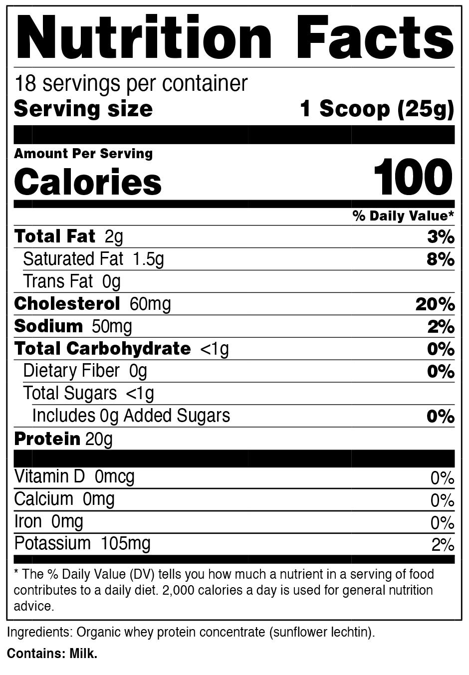 Organic Whey Protein Powder SuppFacts