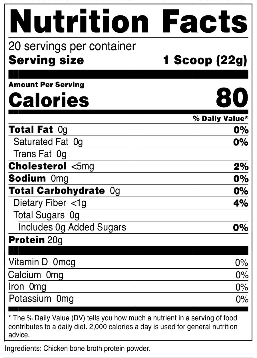 Beef Bone Broth Protein Powder SuppFacts