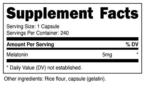 Nutricost Melatonin Supplement Facts