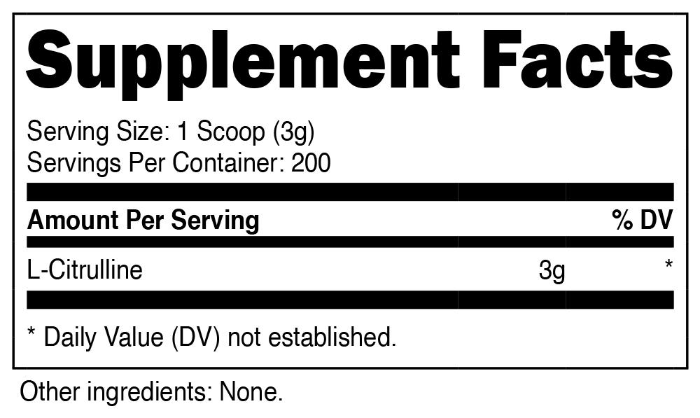 Nutricost L-Citrulline Supplement Facts