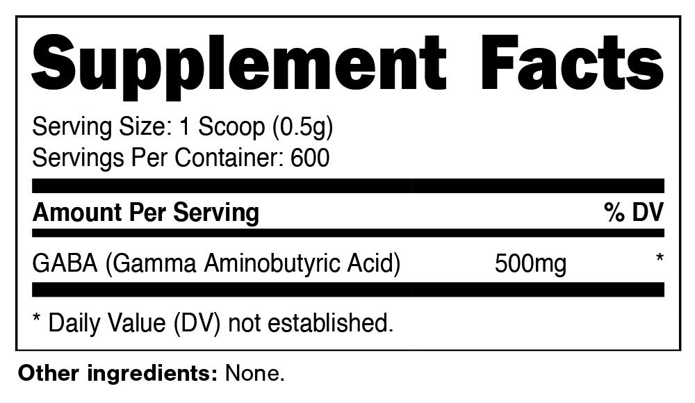 STL GABA Powder Supplement Facts
