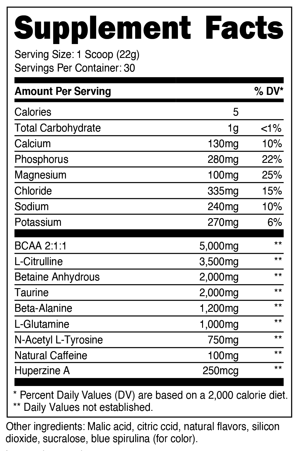 Intra-Workout Supplement Facts