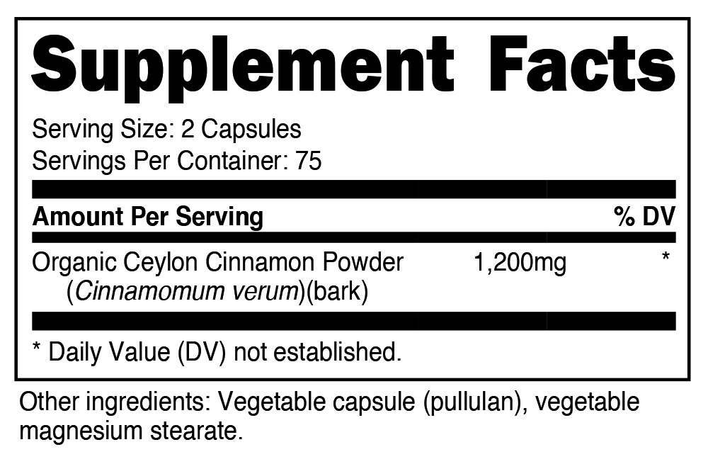 Nutricost Cinnamon SuppFacts