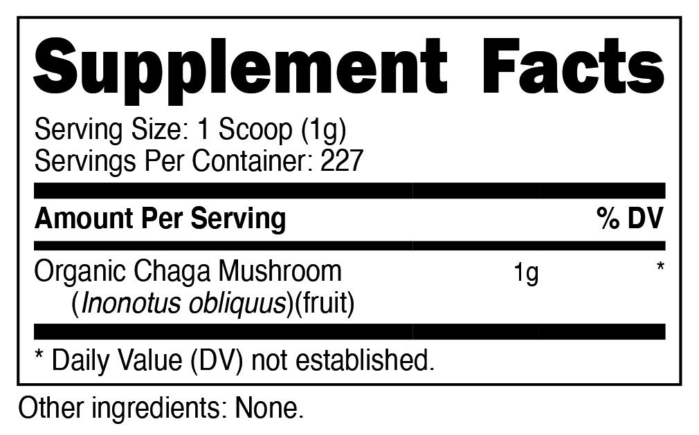Organic Chaga Powder SuppFacts