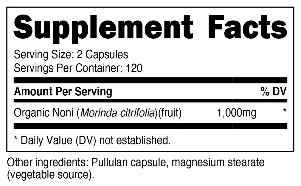 Noni Organic Capsule Supplement Facts
