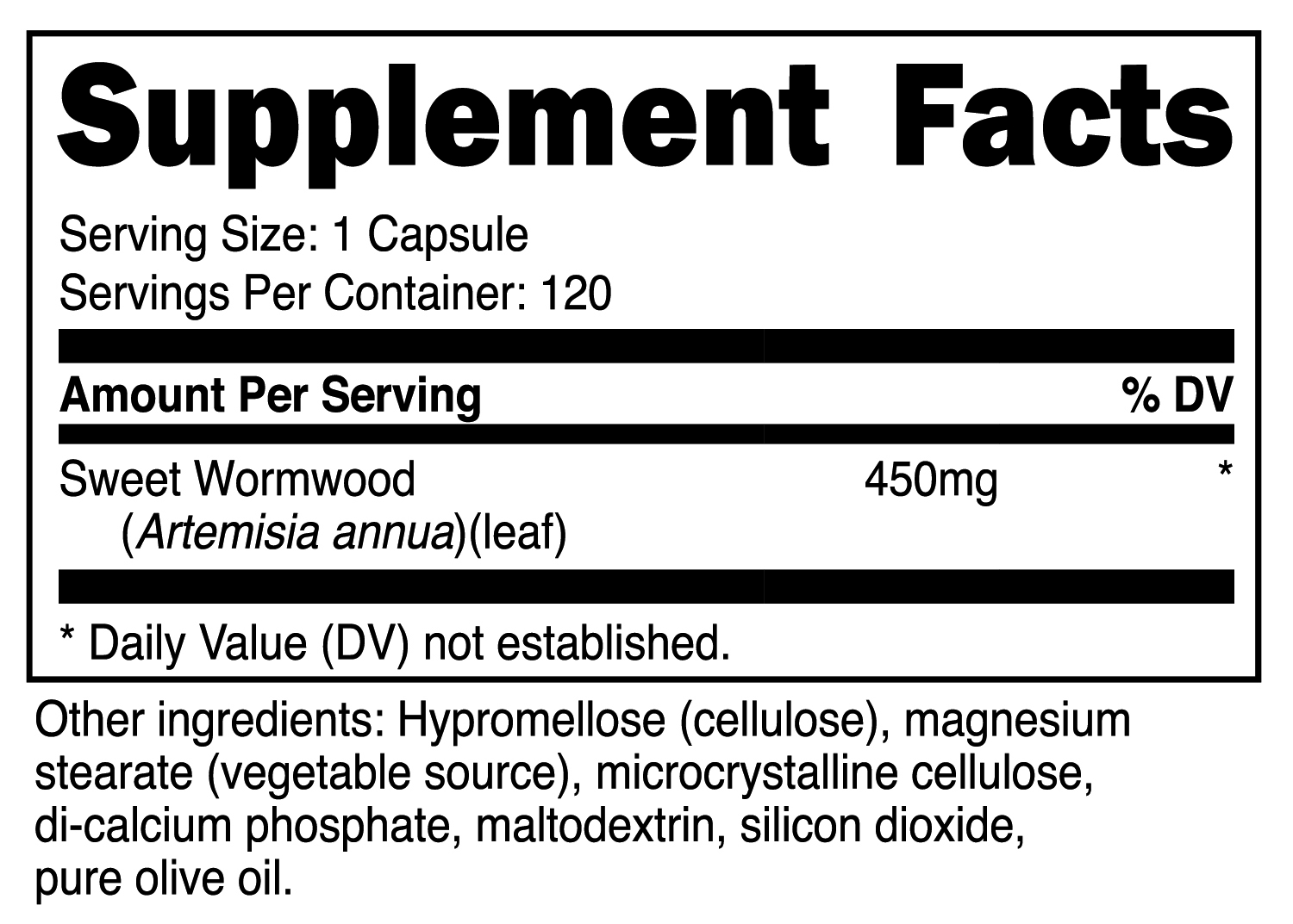 Wormwood Capsule SuppFacts