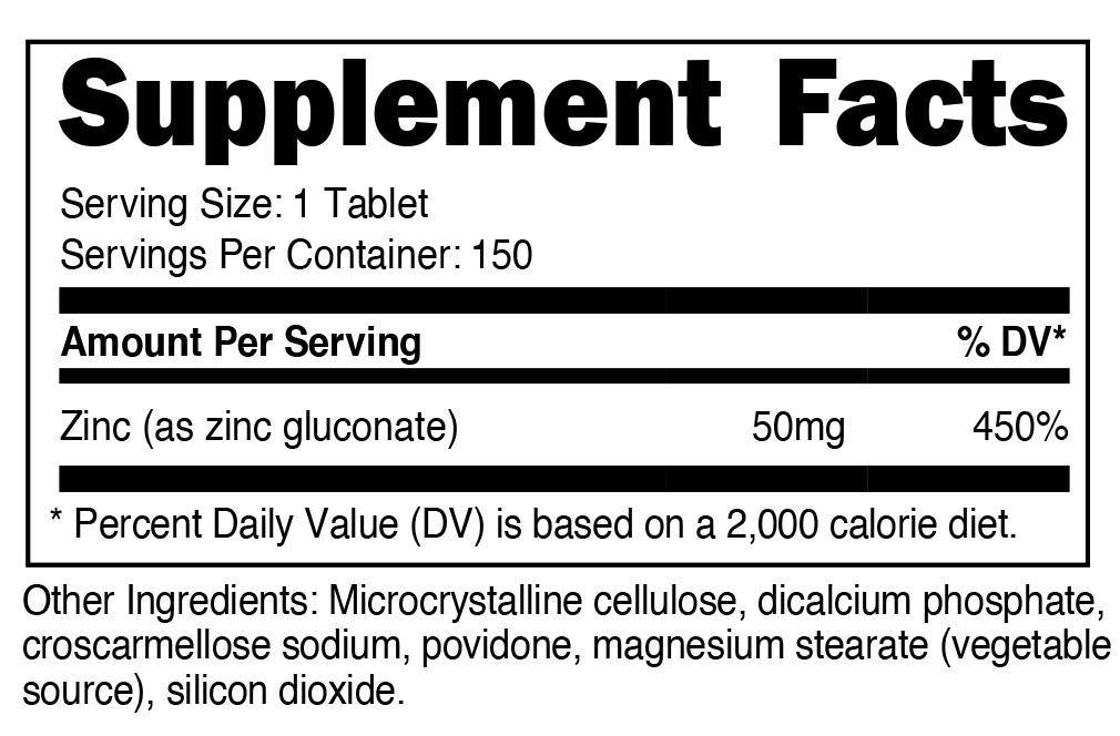 Zinc Gluconate Supplement Facts