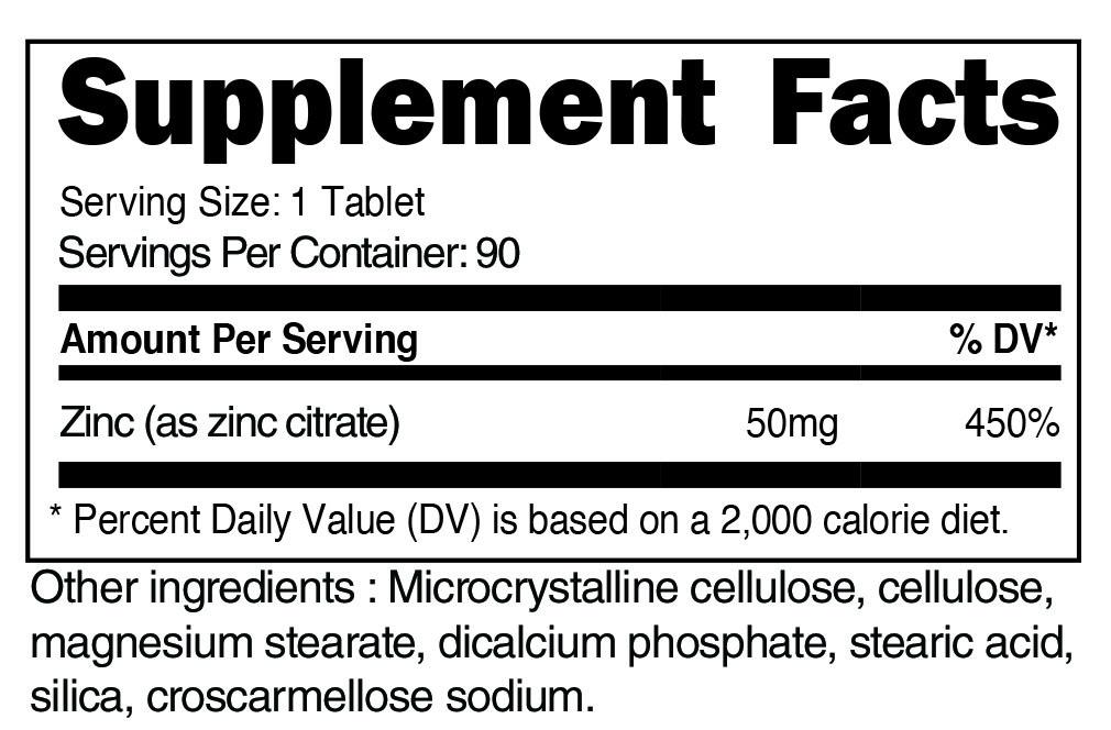 Zinc Citrate Supplement Facts