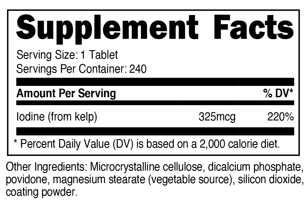 Kelp Supplement Facts