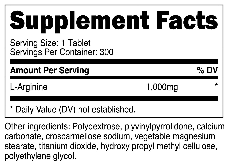 Nutricost L-Arginine Supplement Facts