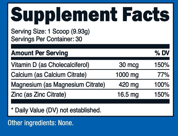 Calcium Magnesium & Zinc with Vitamin D Supplement Facts