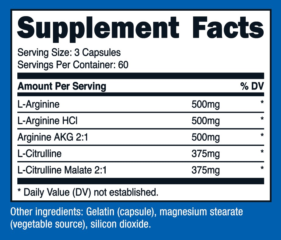 Nitric Oxide Booster Supplement Facts