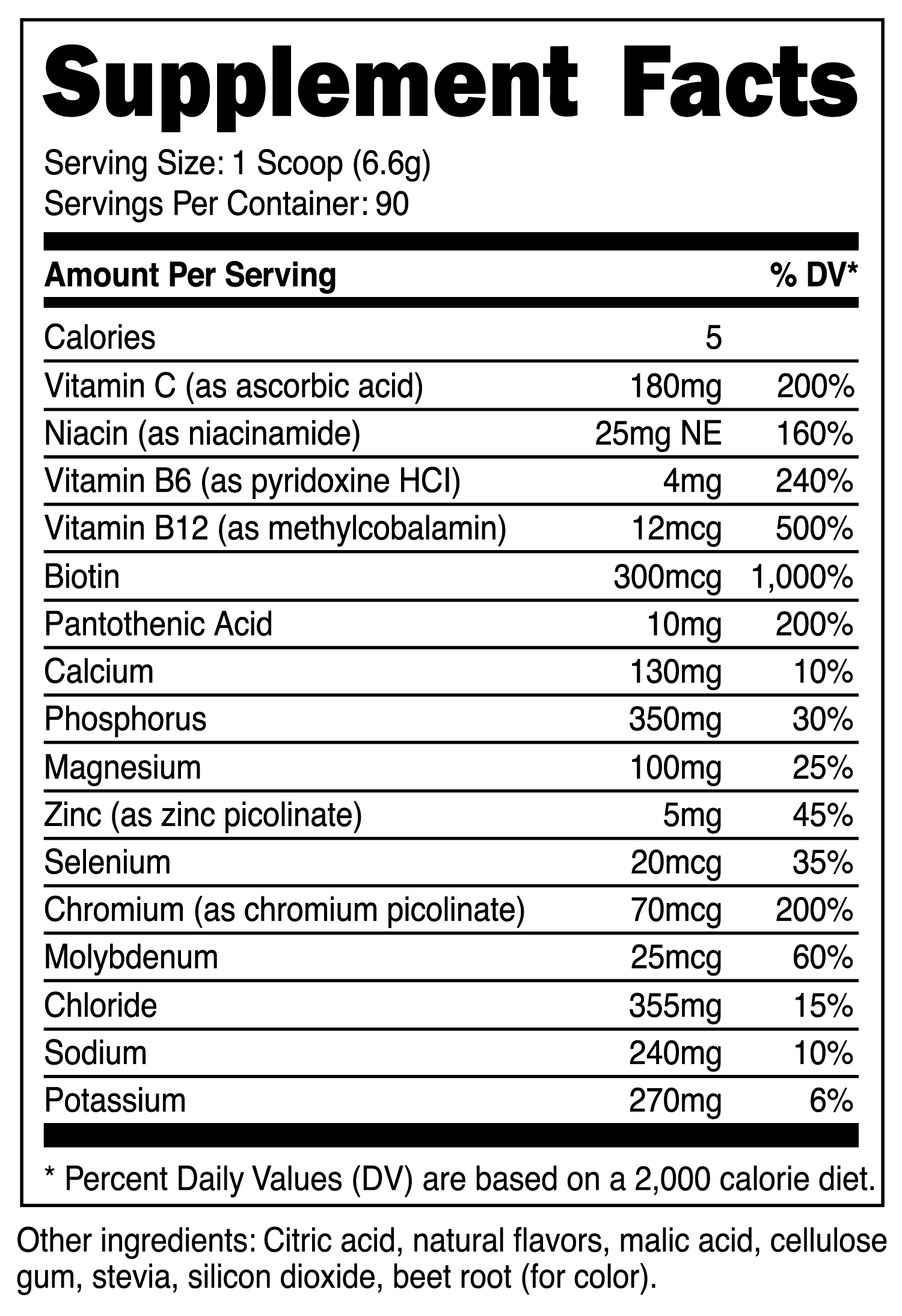 Electrolyte Powder Supplement Facts