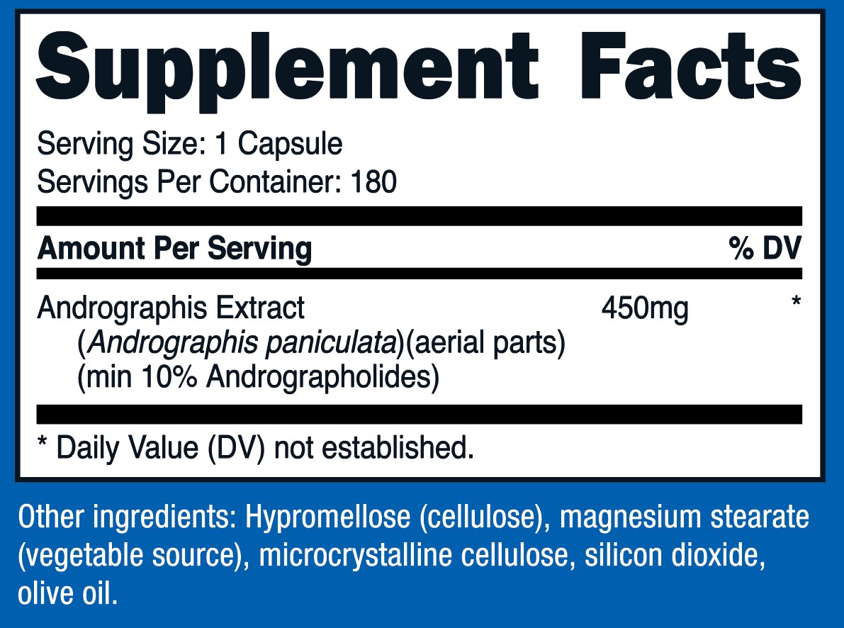 Andrographis Extract Supplement Facts