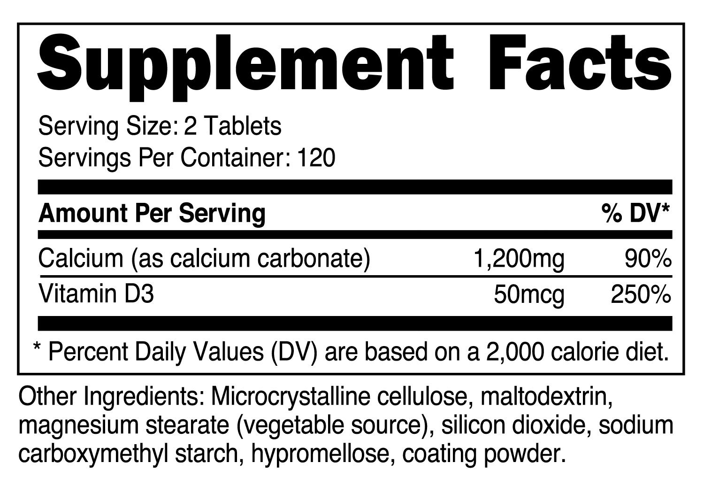 Calcium with Vitamin D3 Supplement Facts