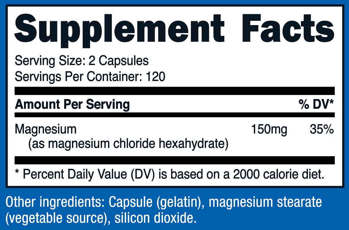 Magnesium Chloride Supplement Facts