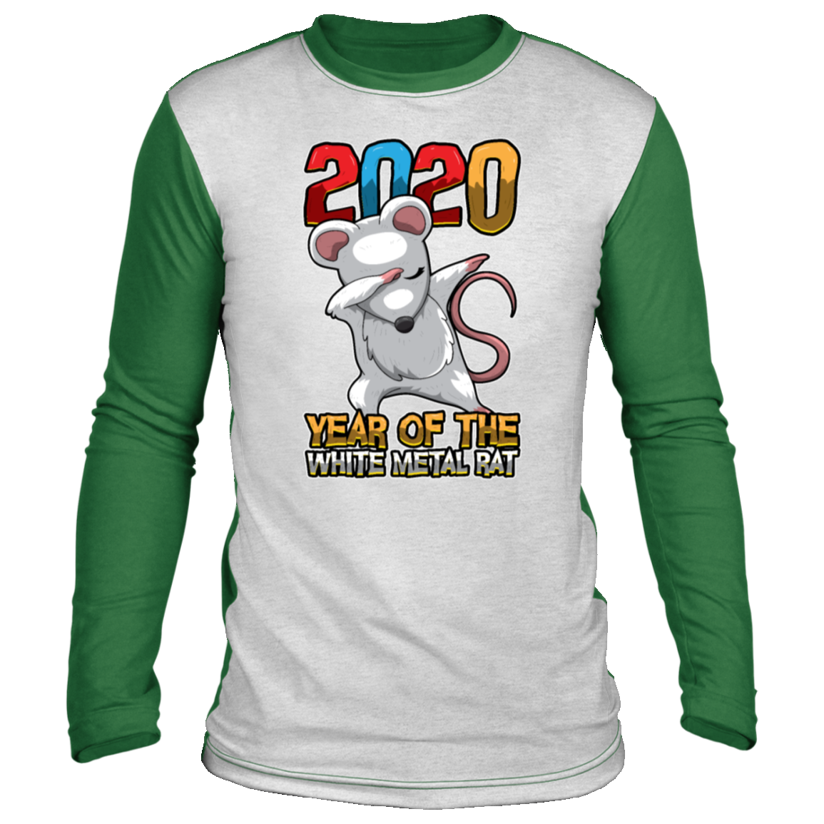 2020 year of the white metal rat chinese Christmas long sleeve shirt