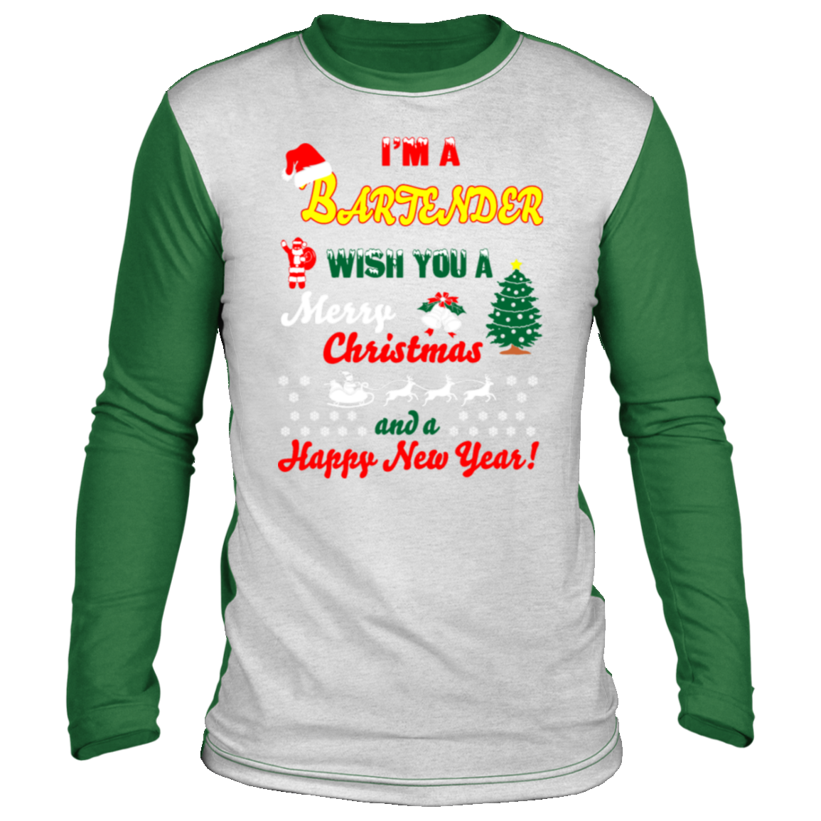 im bartender merry christmas happy new year Christmas long sleeve shirt