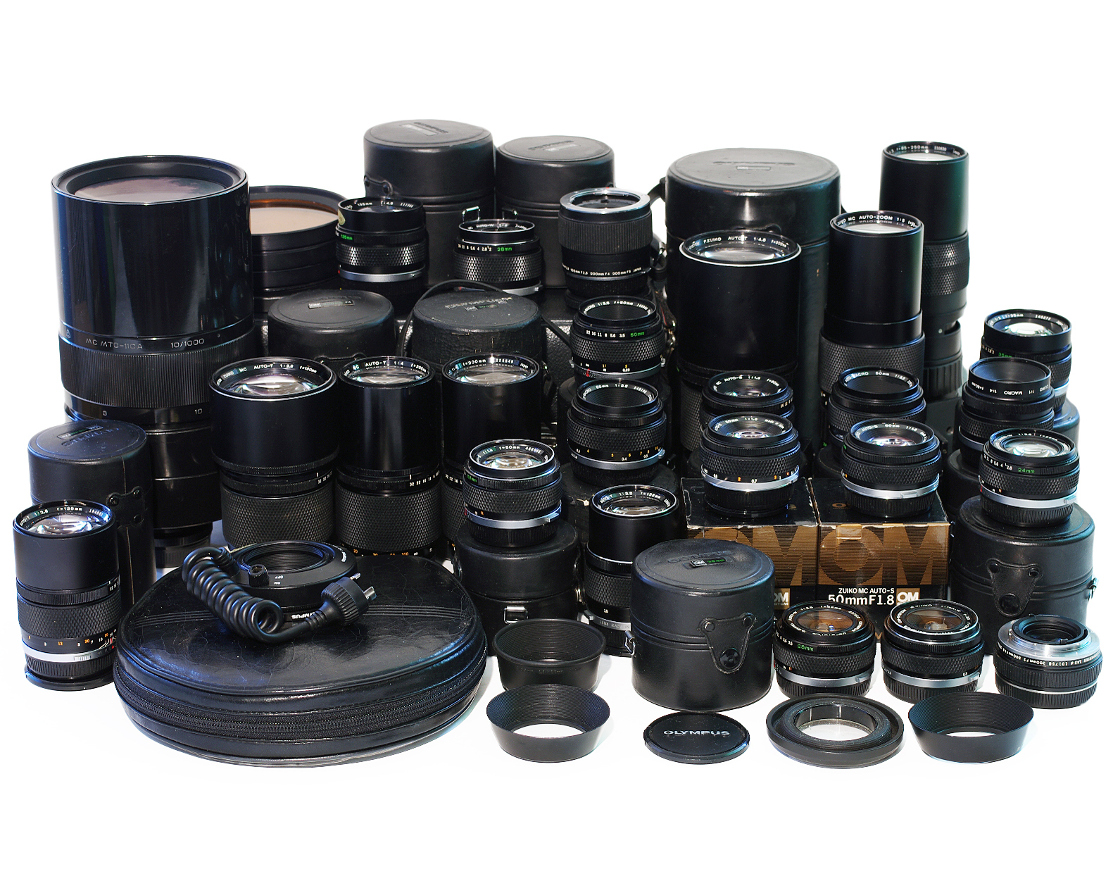 Lot-Olympus-Lenses-28mm-50mm-135mm-180mm-200mm-85-250mm-300mm