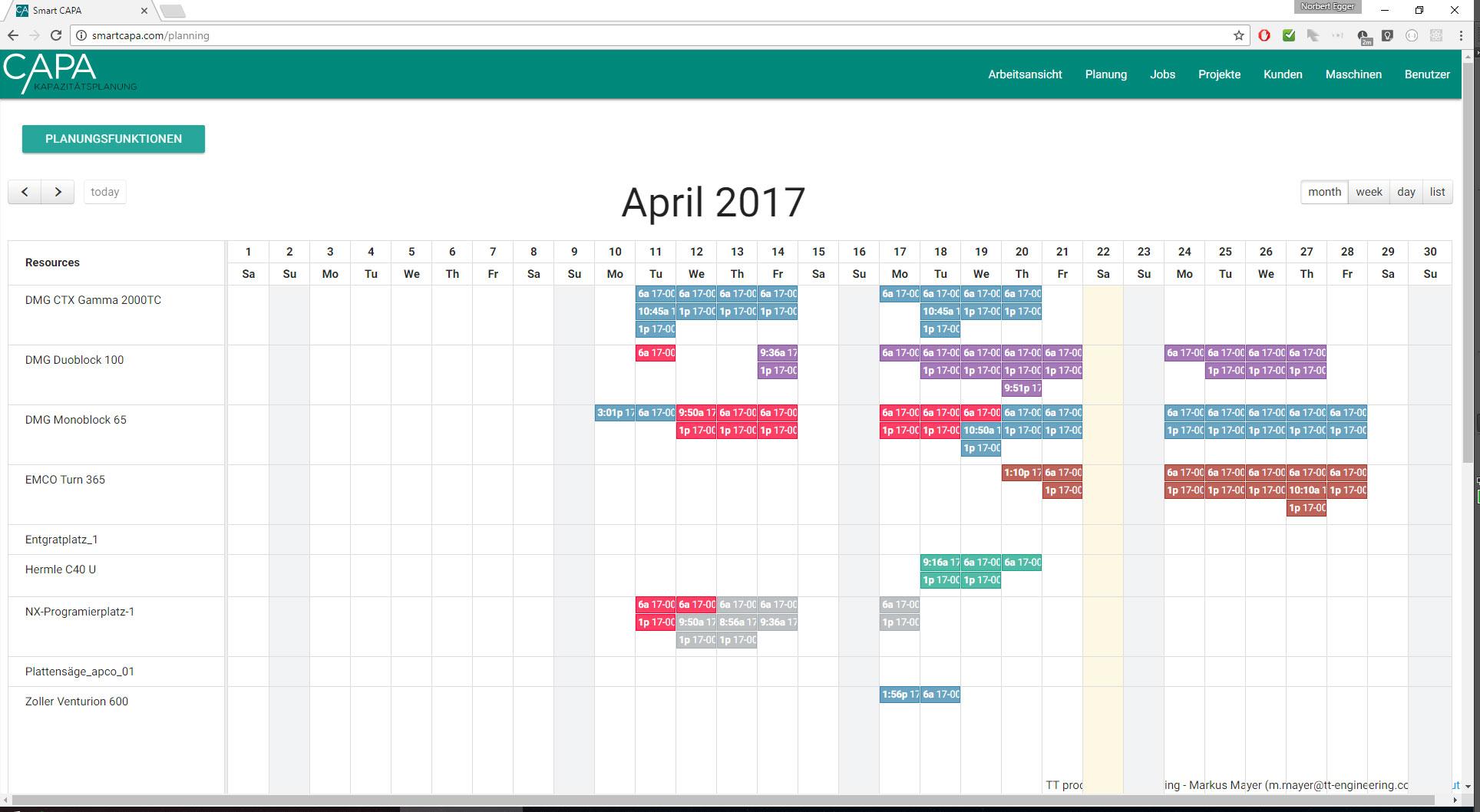 Smart CAPA Kalender Monatsansicht
