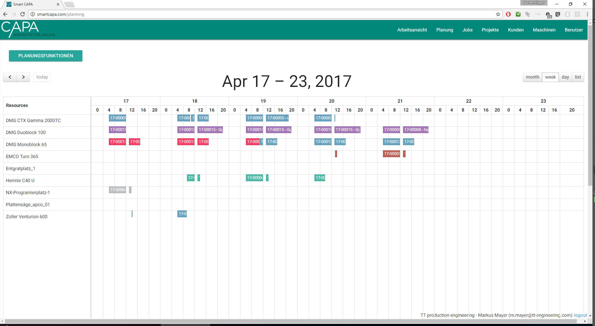 Smart CAPA Kalender Wochenansicht