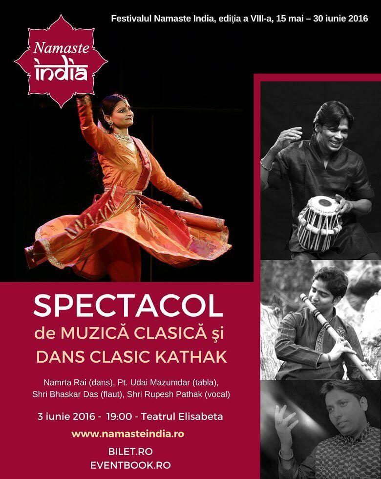 Concert de muzică clasică si dans clasic Kathak Festivalul Namaste India, ed. a VIII-a
