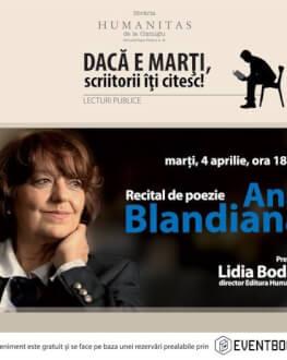 Ana Blandiana – recital de poezie la Librăria Humanitas de la Cişmigiu marţi, 4 aprilie, ora 18.00