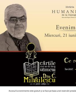 """Andrei Pleşu în dialog cu Dan C. Mihăilescu despre """"Ce rost(uri) mai are înţelepciunea"""""""" miercuri, 21 iunie, ora 19.00, la Librăria Humanitas de la Cişmigiu"""