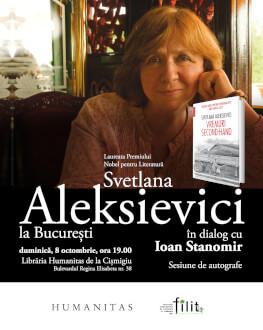 Întâlnire cu Svetlana Aleksievici la București Laureata Premiului Nobel pentru Literatură 2015, în dialog cu Ioan Stanomir