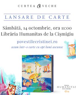 """Lansare de carte """"O girafă în spațiu"""" de Cristina Donovici Sâmbătă, 14 octombrie, ora 11.00"""