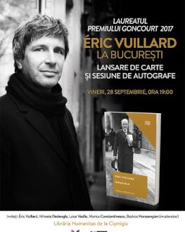 """Éric Vuillard, laureatul Premiului Goncourt 2017, la București """"Ordinea de zi"""", cea mai dezbătută carte francofonă a anului, va fi lansată oficial vineri,  28 septembrie, de la ora 19.00"""