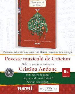 Poveste muzicală de Crăciun | Cristina Andone la Librăria Humanitas de la Cișmigiu duminică, 9 decembrie, de la ora 11.30