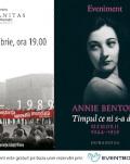 """Despre Annie Bentoiu și """"Timpul ce ni s-a dat. 1944-1959""""  – un veritabil manual de istorie – viu, pasionant – a acelor vremuri joi, 26 septembrie, ora 19, la Librăria Humanitas de la Cișmigiu"""