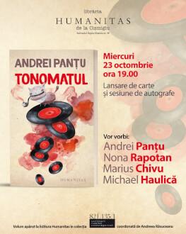 """""""Tonomatul"""", povestiri fantastice de Andrei Panțu lansare cu Marius Chivu, Nona Rapotan și Michael Haulică"""