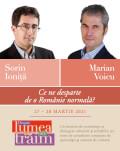 """Ce ne desparte de o Românie normală? Conferință susținută de Sorin Ioniță în cadrul Festivalului """"Despre lumea în care trăim"""", urmată de un dialog Marian Voicu"""