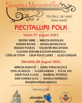 Noaptea Menestrelilor Saturday, 28 August 2021 Teatrul de vara Baia Mare