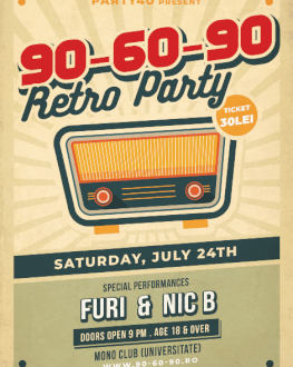 90-60-90 @ Mono Club Retro Party cu Furi si Nic B