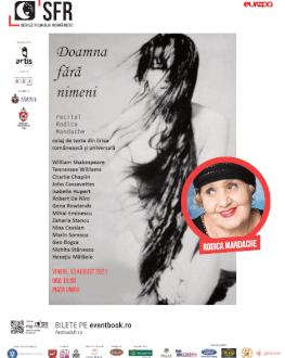 """Recital Rodica Mandache: """"Doamna fără nimeni"""" SERILE FILMULUI ROMÂNESC (SFR), ediția a 12-a"""