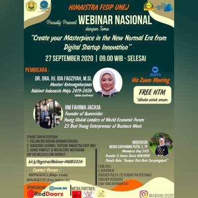 WEBINAR NASIONAL `Create your Masterpiece in the New Normal Era from Digital Startup Innovation `