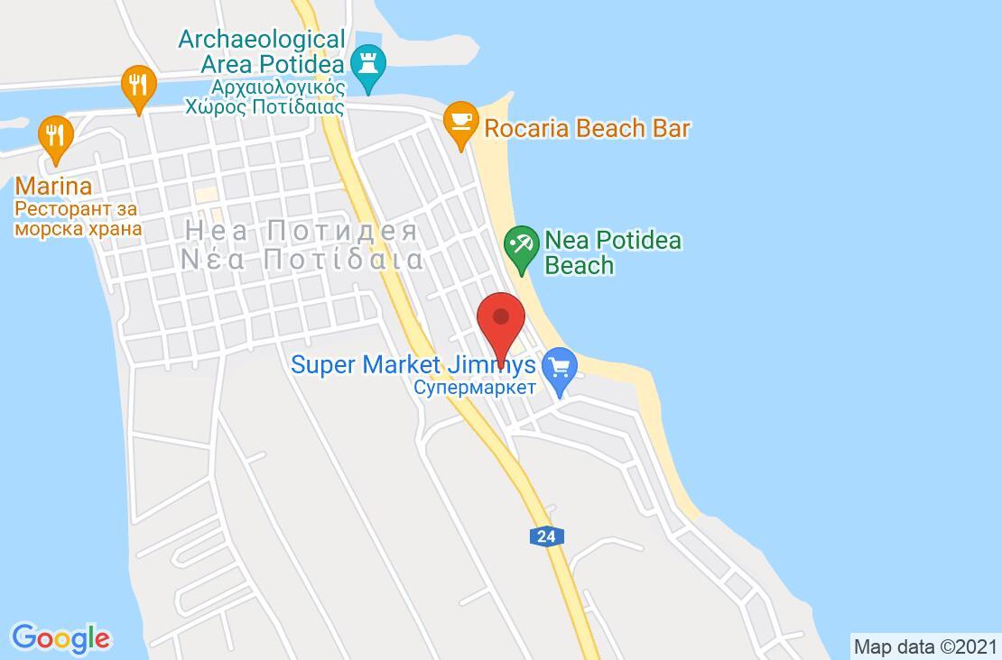 Разположение на Across Potidea Golden Beach на картата