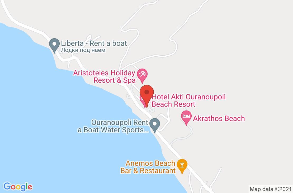 Разположение на Akti Ouranoupoli на картата