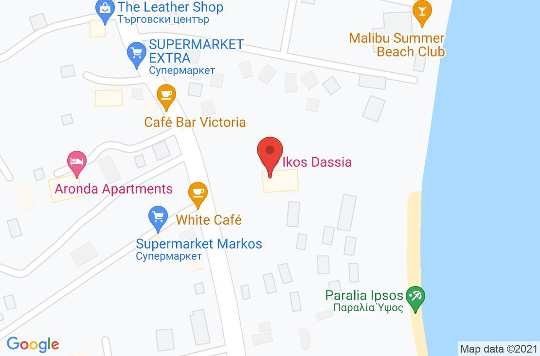 Разположение на Ikos Dassia на картата