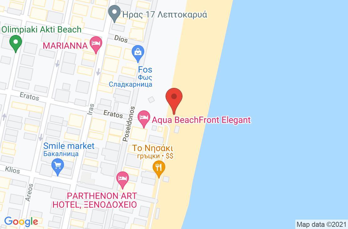 Разположение на Aqua Beachfront Elegant Hotel на картата