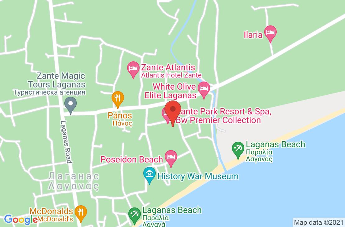 Разположение на Best Western Zante Park Hotel на картата