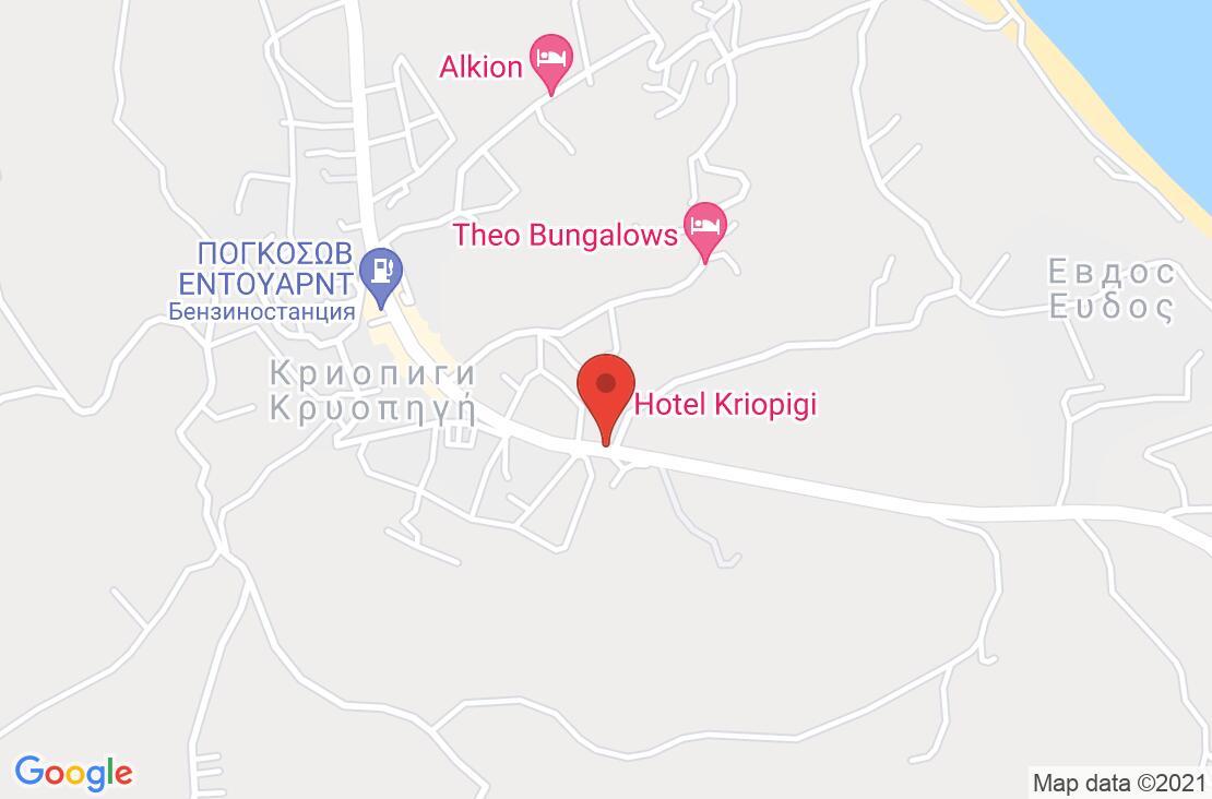 Разположение на Kriopigi Hotel на картата