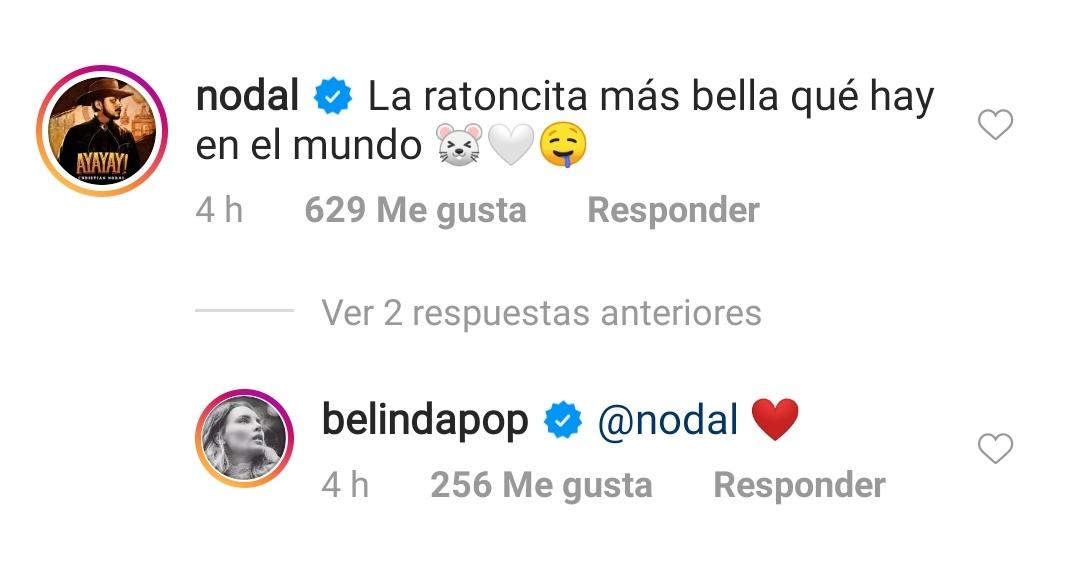 Belinda y Christian nodal intercambian mensajes 'amorosos'
