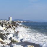Seaside near Marina di Carrara and the Fiat tower hotel