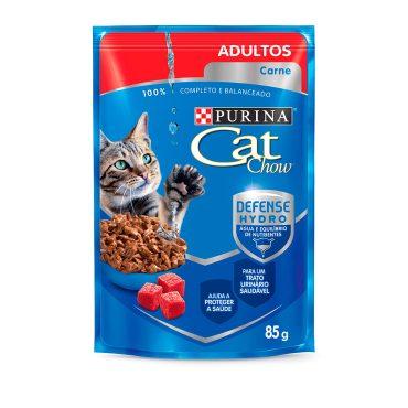 Ração Úmida Cat Chow Sache Gatos Adultos Sabor Carne Ao Molho 85g