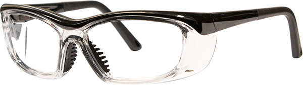 Prescription Safety Glasses - HiDX A006 (Med) (Gloss Black/Clear) - side view
