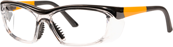 Prescription Safety Glasses - HiDX A006 (Med) (Gloss Black/Orange/Clear) - side view